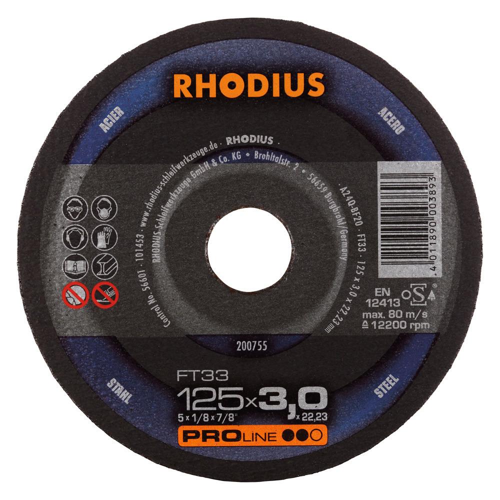 Rhodius FT33 Doorslijpschijf 125 x 3,0 x 22,23 Staal