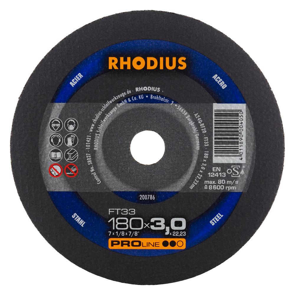 Rhodius FT33 Doorslijpschijf 180 x 3,0 x 22,23 Staal