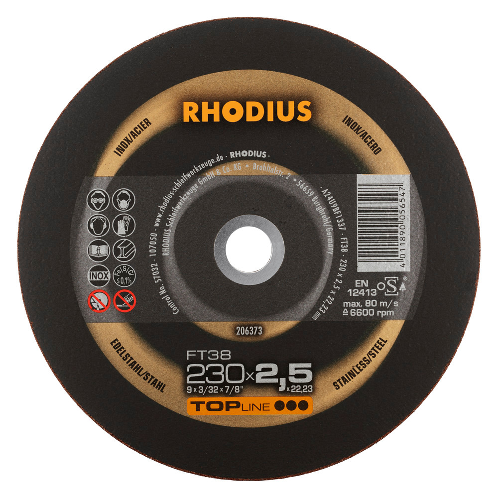 Rhodius FT38 Doorslijpschijf 230 x 2,5 x 22,23 RVS-Staal