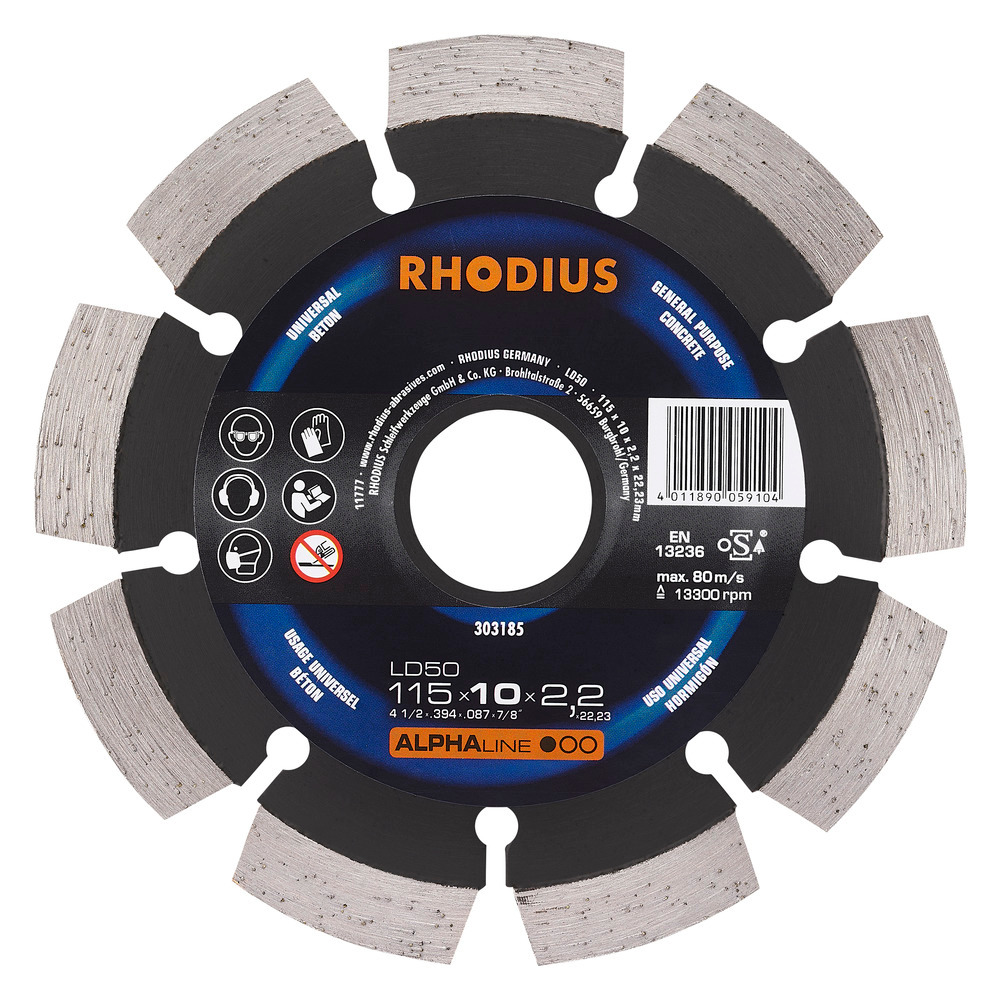 Rhodius LD50 Diamantdoorslijpschijf 115mm