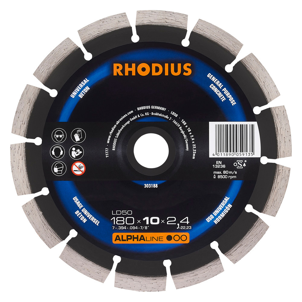 Rhodius LD50 Diamantdoorslijpschijf 180mm
