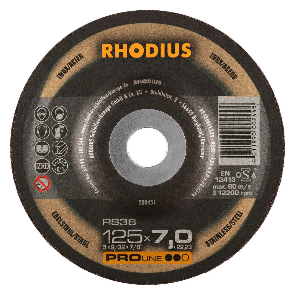 Rhodius RS38 Afbraamschijf 125 x 7,0 x 22,23 RVS-Staal