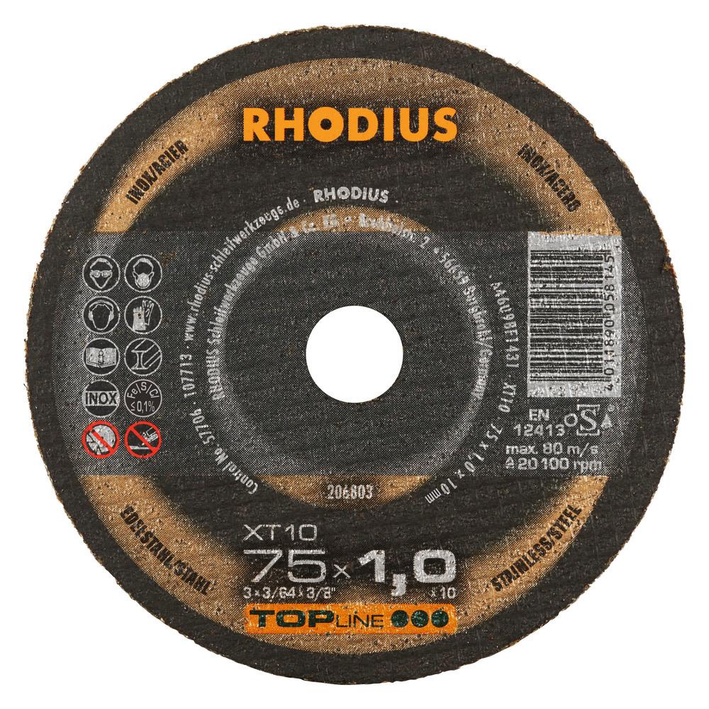 Rhodius XT10 MINI Doorslijpschijf 75 x 1,0 x 10,00 RVS-Staal