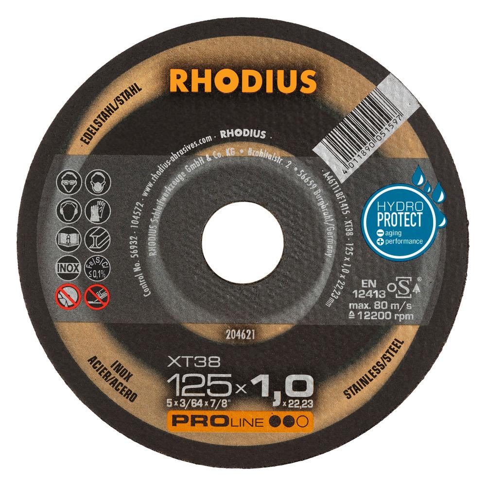 Rhodius XT38 Doorslijpschijf 125 x 1,0 x 22,23 RVS-Staal