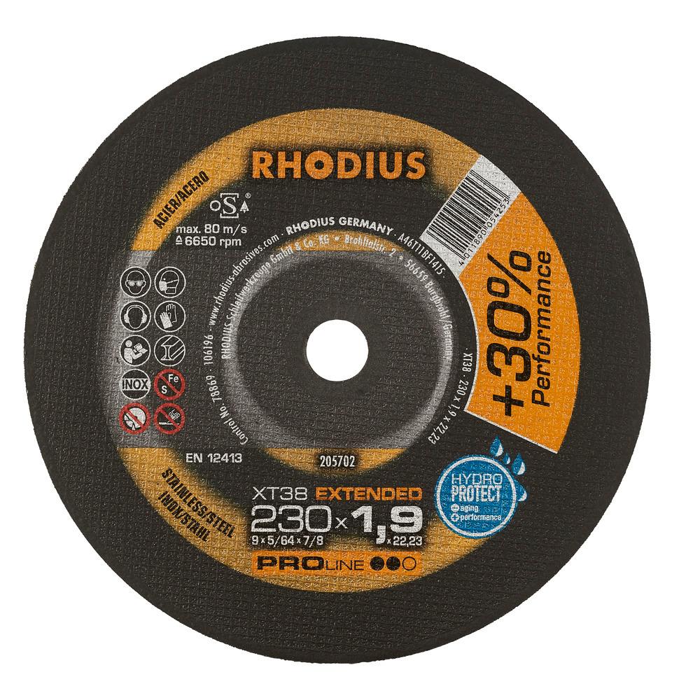 Rhodius XT38 Doorslijpschijf 230 x 1,9 x 22,23 RVS-Staal
